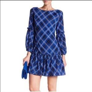 Eliza J (square print) ruffle mini dress sz 2